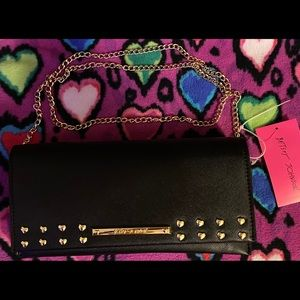 Betsey Johnson Black clutch wi/ gold heart accents